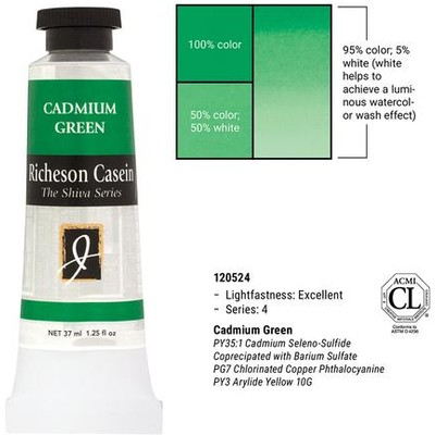 Richeson Casein, Cadmium Green (1.25oz)