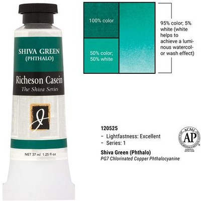Richeson Casein, Shiva Green (Phthalo) (1.25oz)