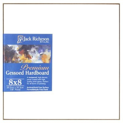 "Gessoed 1/8"" Tempered Hardboard Panel, White - 8"" x 8"""