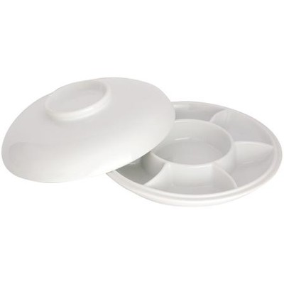 Porcelain Palette, 7 Well Round with Porcelain Cover