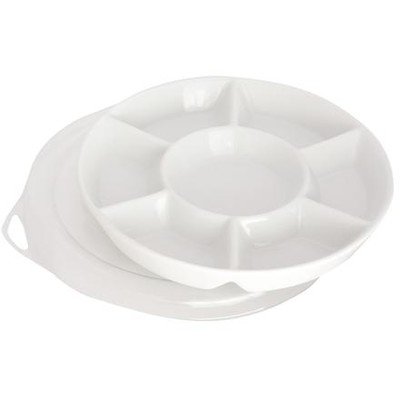 Porcelain Palette, 7 Well Round with Plastic Cover