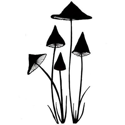 Clear Stamp, Slender Mushrooms Miniature