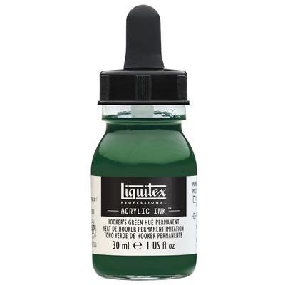 Acrylic Ink 30ml Jar, Hooker's Green Hue Permanent