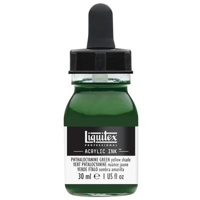 Acrylic Ink 30ml Jar, Phthalocyanine Green Yellow Shade