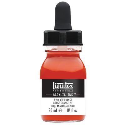 Acrylic Ink 30ml Jar, Vivid Red Orange
