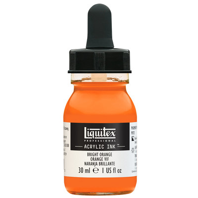 Acrylic Ink 30ml Jar, Bright Orange