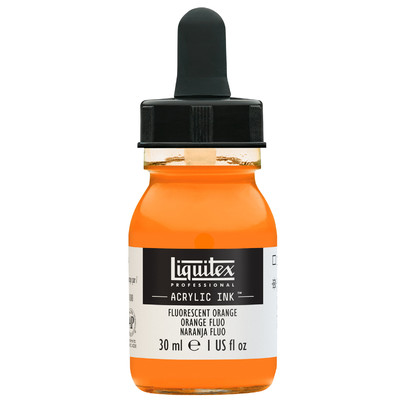 Acrylic Ink 30ml Jar, Fluorescent Orange