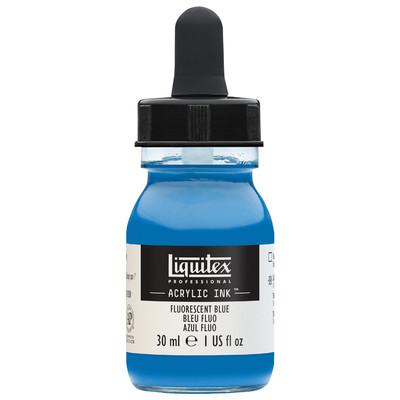 Acrylic Ink 30ml Jar, Fluorescent Blue