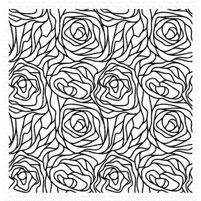 Cling Stamp, Abstract Roses Background