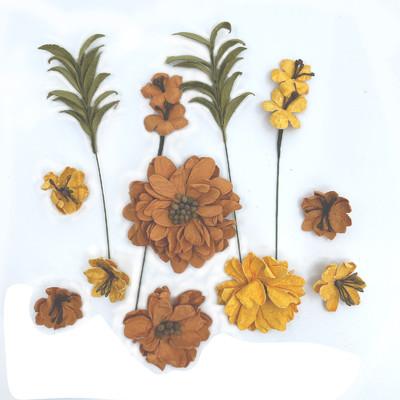 Handmade Paper Flowers, Rustic Bouquet - Marigold