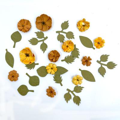 Handmade Paper Flowers, Rustic Blooms - Marigold