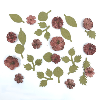 Handmade Paper Flowers, Rustic Blooms - Cranberry