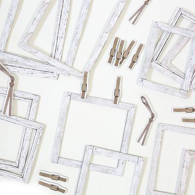 Chipboard Frames, Vintage Artistry Essentials - Whitewash