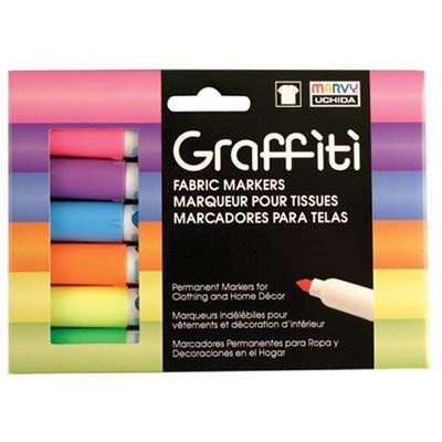 Graffiti Fabric Marker Set, Fluorescent