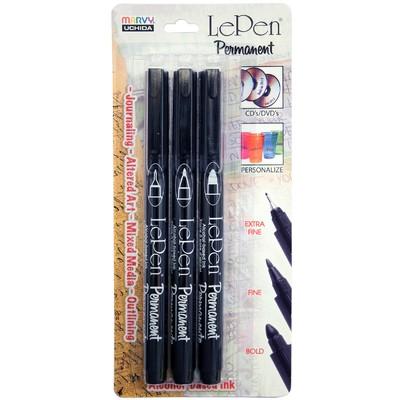 Le Pen Permanent Marker Set, Black (3pc Extra Fine/Fine/Bold)