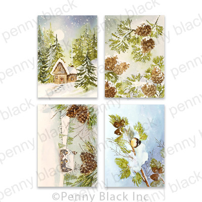 3.25X4.5 Cardstock Panels, Pinecones and Peace
