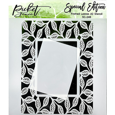 Stencil, Framed Leaves A2