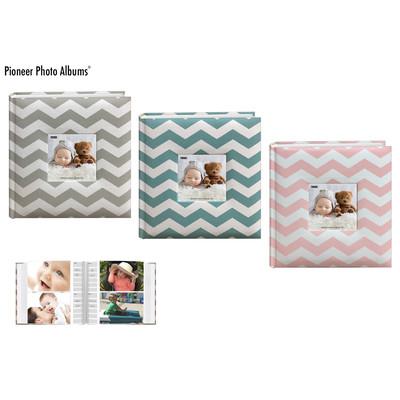 Baby Chevron Fabric Frame Photo Album, Pink (200 Photos)