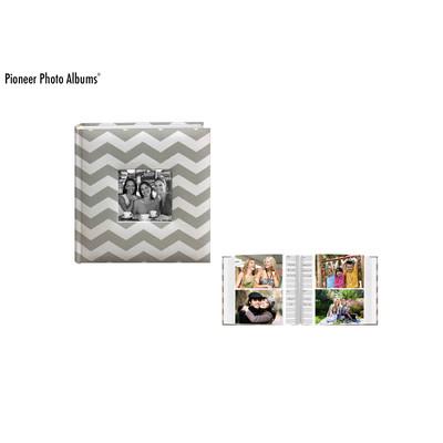 Chevron Fabric Frame Photo Album, Gray (200 Photos)