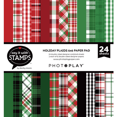 Say It With Stamps 6X6 Paper Pad, Christmas Plaid