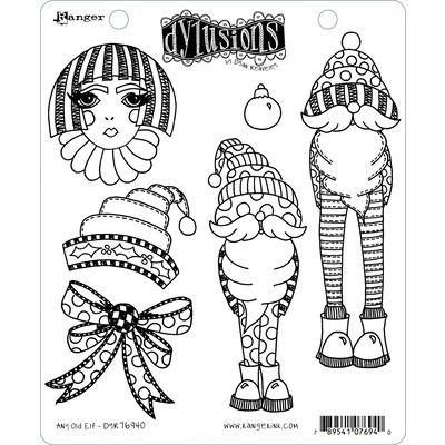 Dylusions Cling Stamp, Any Old Elf