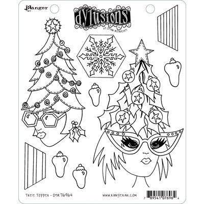 Dylusions Cling Stamp, Tree Topper