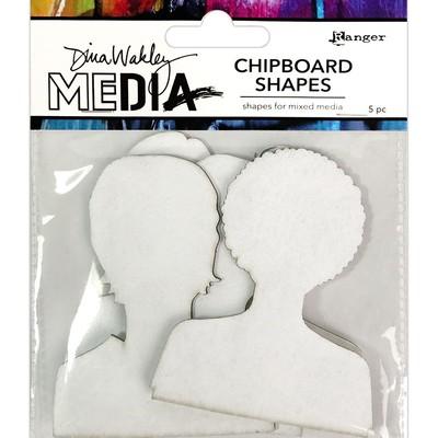 Dina Wakley MEdia Chipboard Shapes, Passport Photos