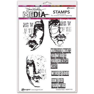 Dina Wakley MEdia Cling Stamp, Greatest Asset