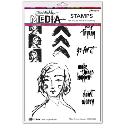 Dina Wakley MEdia Cling Stamp, Make Things Happen