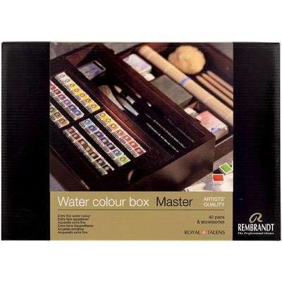 Rembrandt Prof. Watercolor Wood Box Set, 42 Pans + Acc.