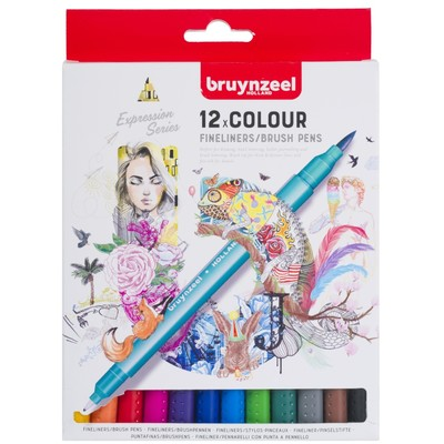 Bruynzeel Creatives Fineliner Brushpen Set, 12 Colors