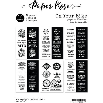 A5 Sentiment Sheets, On Your Bike (12pc)