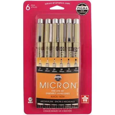 Pigma Micron Pen Set, Black (6 pk)