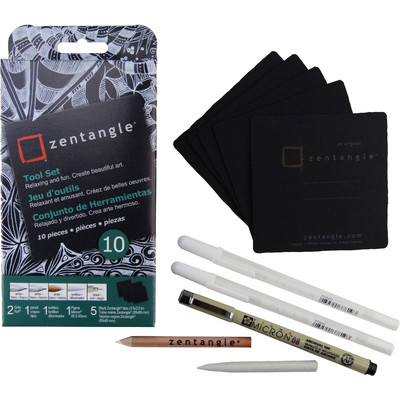 "Zentangle Tool Set, 3.5"" Black Tile (10 pc)"