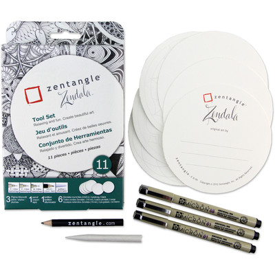 Zentangle Tool Set, Zendala Round White Tile (11 pc)