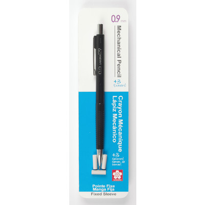 Mechanical Pencil, Fixed Sleeve - Black W/ 3 Erasers (0.9mm)