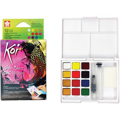 Koi Water Colors Cake Set, Field Sketch Box - 12 Colors
