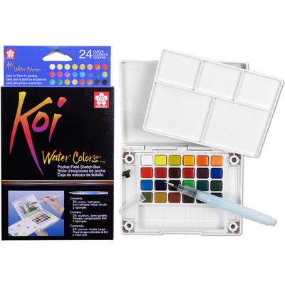 Koi Water Colors Cake Set, Field Sketch Box - 24 Colors
