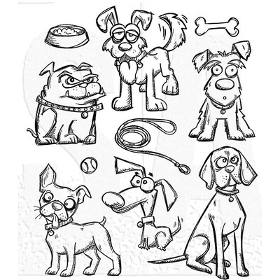 Cling Stamp, Crazy Dogs