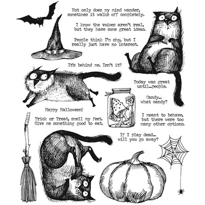 Cling Stamp, Snarky Cat Halloween