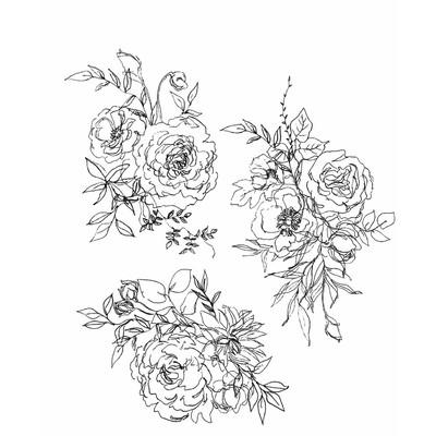 Cling Stamp, Floral Outline