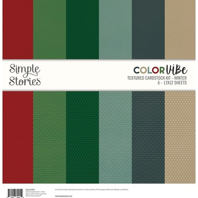 12X12 Color Vibe Textured Cardstock Pack, Winter