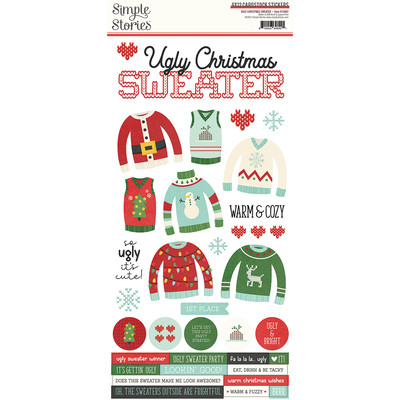 6X12 Cardstock Sticker, Ugly Christmas Sweater