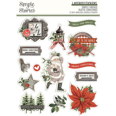 Layered Stickers, Simple Vintage Rustic Christmas