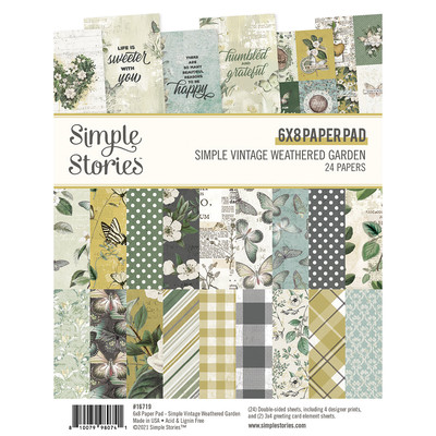 6X8 Paper Pad, Simple Vintage Weathered Garden