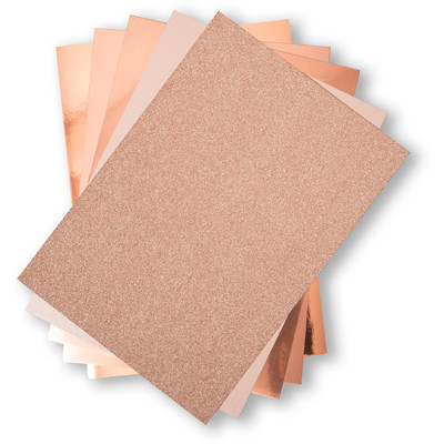 8X11.5 Opulent Cardstock Pack, Rose Gold