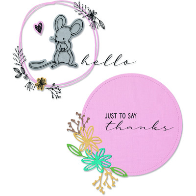 Framelits Die Set w/Stamps, Hello Mouse (8pk)