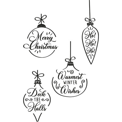 Clear Stamp, Christmas Baubles (4pk)