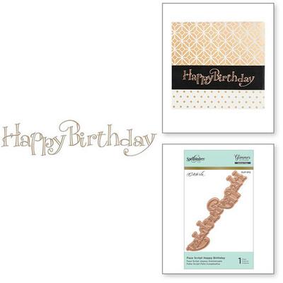 Glimmer Hot Foil Plate, Faux Script Happy Birthday