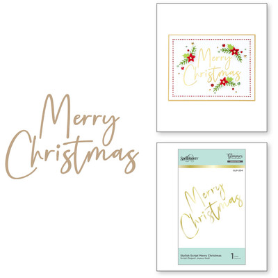 Glimmer Hot Foil Plate, SC - Stylish Script Merry Christmas